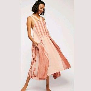 NEW Free People Joyel Striped Ruffle Midi Dress